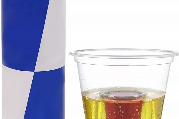 Shot glasses with room for both jägermeister and red bull